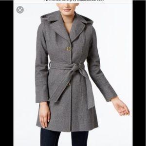 Michael Kors Grey Wool Blend Hooded Coat